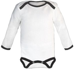 Baby Bodysuit long, Baby Body - White / Black