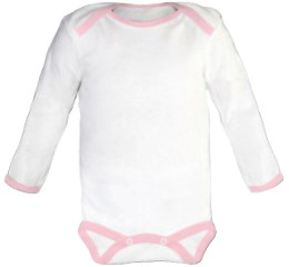 Baby Bodysuit long, Baby Body - White / Pink