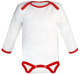 Baby Bodysuit long, Baby Body - White / Red