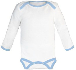 Baby Bodysuit long, Baby Body - White / Blue